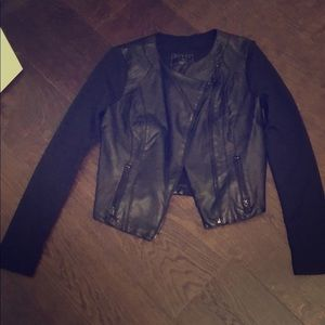 Black mixed media jacket with pleather front